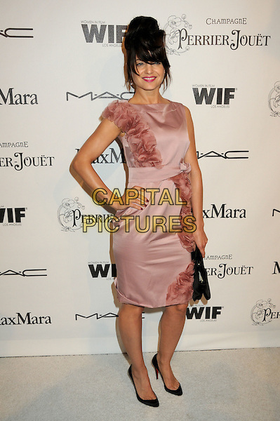 MENA SUVARI .3rd Annual Women In Film Pre-Oscar Party held at a Private Residence in Beverly Hills, California, USA, .4th March 2010..full length sleeveless dress hand on hip  pink hair fringe up silk chiffon ruffle ruffles  black clutch bag shoes .CAP/ADM/BP.©Byron Purvis/AdMedia/Capital Pictures.