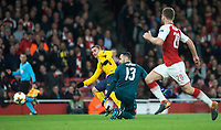 Antoine Griezmann of Atletico Madrid scores a goal past Goalkeeper David Ospina of Arsenal  during the UEFA Europa League Semi Final 1st leg match between Arsenal and Atletico Madrid at the Emirates Stadium, London, England on 26 April 2018. Photo by Andy Aleksiejczuk / PRiME Media Images