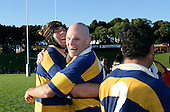 Paul Wheeler & Andrew Van der Hejden celebrate the final whistle and victory. McNamara Cup final - Premier 1 Championship, Patumahoe v Ardmore Marist. Patumahoe won 13 - 6. Counties Manukau club rugby finals played at Growers Stadium, Pukekohe, 24th of June 2006.