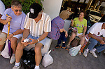ALGODONES, MEXICO-MARCH 23: Retirees check out their purchases of medicines and eyeglasses as they take a break before heading back across the border to the U.S. March 23, 2005 in Algodones. Many Americans will buy up to a 3 month supply of medications at a time to take home.©Radhika Chalasani