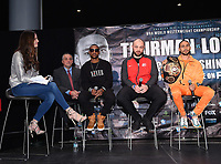 BROOKLYN - JANUARY 24: (L-R) Fox Sports' Heidi Androl, and boxers Claudio Marrero, Adam Kownacki, and Keith Thurman attend a press conference for the January 26 PBC on FOX fight card at Barclays Arena on January 24, 2019, in Brooklyn, New York. (Photo by Frank Micelotta/Fox Sports/PictureGroup)