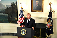United States President Donald J. Trump makes remarks on the mass shooting in Las Vegas, Nevada, from the Diplomatic Room at the White House, Washington, DC, October 2, 2017. More than 50 people attending a music festival were killed and hundreds wounded by a gunman.                  <br /> <br /> CAP/MPI/CNP/RS<br /> &copy;RS/CNP/MPI/Capital Pictures