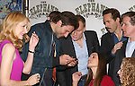 (LtoR) Patricia Clarkson, Bradley Cooper, Peter Bradbury, Emma Thorne,  Alessandro Nivola, Anthony Heald and Amanda Lea Mason  attends the 'The Elephant Man' Broadway Cast photo call at Sardi's on October 21, 2014 in New York City.