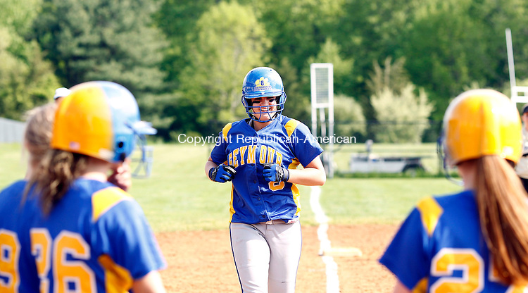 Seymour, CT- 20, May 2011-052011CM03  Seymour's Steph Burt trots to home plate after blasting a 3-run homer against Woodland Friday afternoon in Seymour.  The Wildcats blanked Eagles, 9-0.   Christopher Massa Republican-American