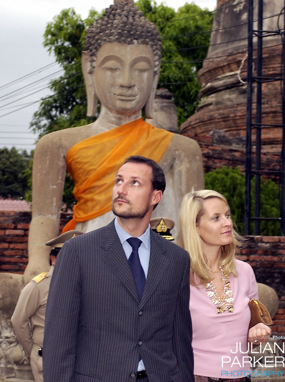 Crown Prince Haakon & Crown Princess Mette-Marit of Norway's visit to Thailand..Visit to Wat Yai Chai Mongkol Ancient Monastry..