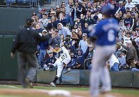 04 October 2009: Seattle Mariners right fielder #51 Ichiro Suzuki records the out after crashing into the stands chasing a foul ball against the Texas Rangers. Seattle won 4-3 over the Texas Rangers at Safeco Field in Seattle, Washington.