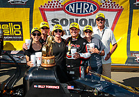 Jul 28, 2019; Sonoma, CA, USA; NHRA top fuel driver Billy Torrence celebrates with crew and vip guests after winning the Sonoma Nationals at Sonoma Raceway. Mandatory Credit: Mark J. Rebilas-USA TODAY Sports