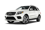 Stock pictures of low aggressive front three quarter view of 2017 Mercedes Benz GLE-Class AMG-GLE43 5 Door SUV Low Aggressive