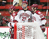Tyler Moy (Harvard - 2), Wiley Sherman (Harvard - 25), Brian Hart (Harvard - 39) - The Harvard University Crimson defeated the visiting Princeton University Tigers 5-0 on Harvard's senior night on Saturday, February 28, 2015, at Bright-Landry Hockey Center in Boston, Massachusetts.