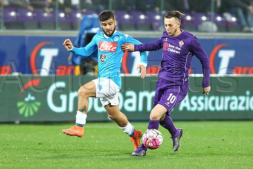 29.02.2016. Stadium Artemio Franchi, Florence, Italy.  Serie A football league. Fiorentina versus Napoli. Bernardeschi Federico (F) and Insigne Lorenzo (N)