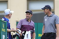 Padraig Harrington (IRL) and Robert Karlsson (SWE) on the 10th tee during Sunday's storm delayed Final Round 3 of the Andalucia Valderrama Masters 2018 hosted by the Sergio Foundation, held at Real Golf de Valderrama, Sotogrande, San Roque, Spain. 21st October 2018.<br /> Picture: Eoin Clarke | Golffile<br /> <br /> <br /> All photos usage must carry mandatory copyright credit (&copy; Golffile | Eoin Clarke)