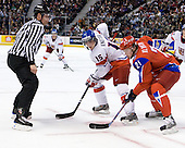 Tomas Knotek (Czech Republic - 15), Nikita Klyukin (Russia - 21) - Russia defeated the Czech Republic 5-1 on Friday, January 2, 2009, at Scotiabank Place in Kanata (Ottawa), Ontario, during the 2009 World Junior Championship.