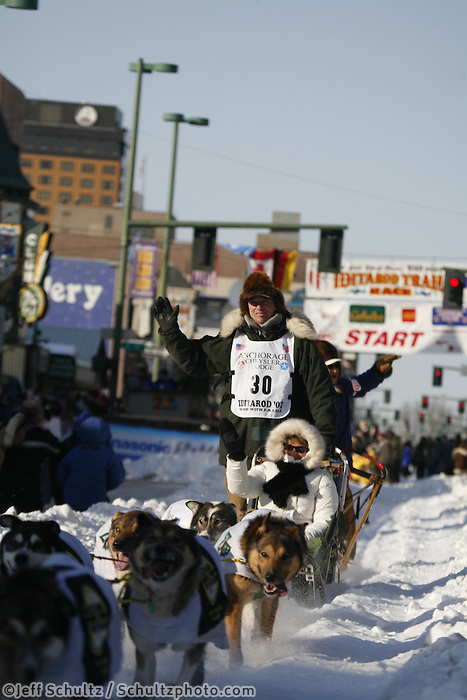 March 3, 2007   Ed Iten leaves 4th avenue during the Iditarod ceremonial start day in Anchorage