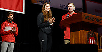 Wisconsin freshman swimming champion, Beata Nelson, takes the podium during the NCAA championship awards ceremony. Nelson, Big Ten Swimmer of the Championships, won three individual NCAA titles last weekend (200 individual medley, 200-yard backstroke, and 100-yard backstroke, in which she broke the American, collegiate and U.S. open records).
