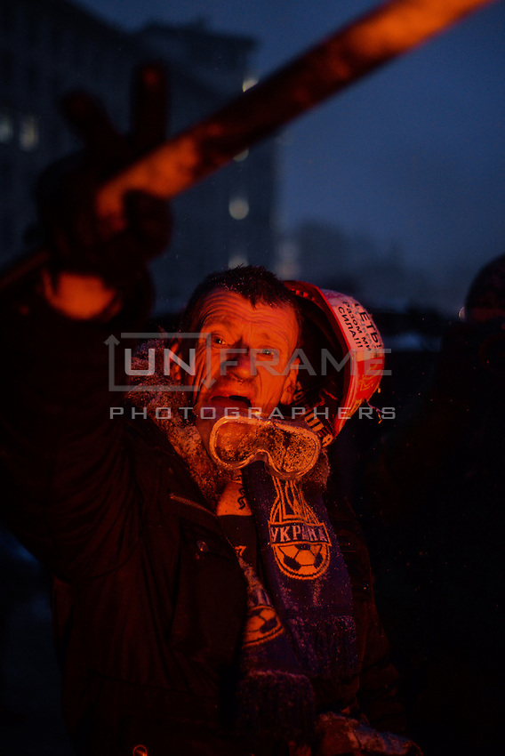 A demonstrator seen during the  protest against new draconian law to ban the right to  protest across the country.  Kiev. Ukraine
