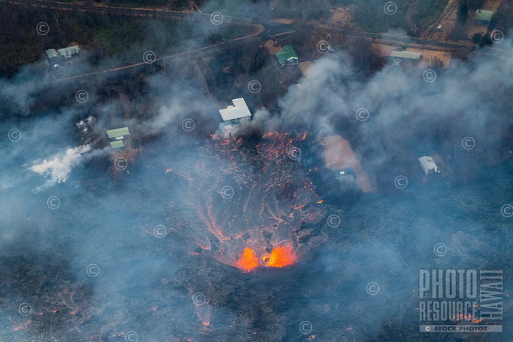 May 2018: An aerial view of the Kilauea Volcano eruption in Leilani Estates, Puna, Big Island of Hawai'i.