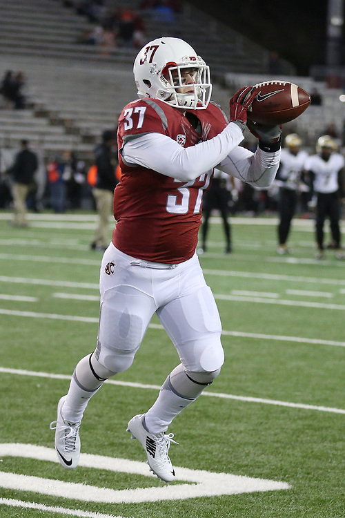 Skyler Cracraft, Washington State University defensive back, warms up prior to the Cougars Pac-12 conference game against the Colorado Buffaloes at Martin Stadium in Pullman, Washington, on November 21, 2015.  The Cougar defense kept Colorado out of the end zone all night, as WSU soundly defeated Colorado, 27-3.
