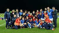 20180307 - LARNACA , CYPRUS : Italian team pictured after ending on 2nd place after a women's soccer game between Italy and Spain , on wednesday 7 March 2018 at the AEK Arena in Larnaca , Cyprus . This is the final game for the first place  for  Italy and  Spain on the Cyprus Womens Cup , a prestigious women soccer tournament as a preparation on the World Cup 2019 qualification duels. PHOTO SPORTPIX.BE | DAVID CATRY
