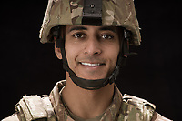 Studio portrait of Army soldier Jaden stock photo DOD complient rights managed model released