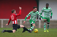 Bradley Warner of Hornchurch and Sam Robbins of Waltham Abbey during AFC Hornchurch vs Waltham Abbey, Bostik League Division 1 North Football at Hornchurch Stadium on 13th January 2018