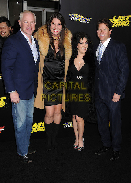 """Neal McDonough, Ruve McDonough & guests.""""The Last Stand"""" World Premiere held at Grauman's Chinese Theatre, Hollywood, California, USA..January 14th, 2013.full length blue suit jacket white check shirt jeans denim black dress brown camel fur coat .CAP/ADM/BP.©Byron Purvis/AdMedia/Capital Pictures."""