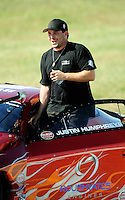 Sept. 5, 2010; Clermont, IN, USA; NHRA pro stock driver Justin Humphreys during qualifying for the U.S. Nationals at O'Reilly Raceway Park at Indianapolis. Mandatory Credit: Mark J. Rebilas-