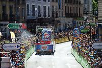 """Picture by Simon Wilkinson/SWpix.com 16/07/2017 - Cycling Tour de France 2017 - Stage 15 Laissac - Severac l""""Eglise - Le Puy en Velay -  The Publicity Caravan arrives at the finish - Caravane Publicite"""