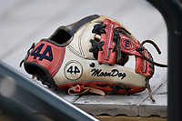 The glove of shortstop Marcus Mooney (2) of the Rome Braves sits in the dugout in a game against the Columbia Fireflies on Monday, July 3, 2017, at Spirit Communications Park in Columbia, South Carolina. Columbia won, 1-0 (Tom Priddy/Four Seam Images)