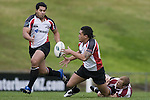 Male Sa'u offload the ball to Niva Ta'auso as he is taken to ground by Luke Hamilton. Counties Manukau Steelers vs North Harbour warm-up rugby game played at Growers Stadium on Saturday 7th of July 2007.