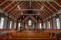 Cultural Syncretism.  St. Mary's Anglican Church, Tikitiki, north island, New Zealand, built 1924-26 as a memorial to Maori soldiers who fought and died in World War I.   A member of the New Zealand Historic Places Trust.  Highway 35, Gisborne Region.
