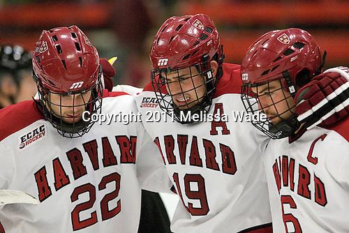 David Valek (Harvard - 22), Alex Killorn (Harvard - 19), Ryan Grimshaw (Harvard - 6) - The Harvard University Crimson defeated the visiting Colgate University Raiders 4-2 on Saturday, November 12, 2011, at Bright Hockey Center in Cambridge, Massachusetts.