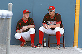 Batavia Muckdogs pitchers Keith Butler and Anthony Ferrara before a game vs. the State College Spikes at Dwyer Stadium in Batavia, New York July 17, 2010.   Batavia defeated State College 12-11 in 11 innings.  Photo By Mike Janes/Four Seam Images