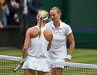 July 5, 2014, United Kingdom, London, Tennis, Wimbledon, AELTC, Ladie's Singles Final:  Eugenie Bouchard (CAN)  vs Petra Kvitova (CZE), Pictured: Eugenie Bouchard and winner Petra Kvitova (R) shake hands at the net, <br /> Photo: Tennisimages/Henk Koster
