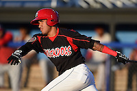 Batavia Muckdogs second baseman Rony Cabrera (40) at bat during a game against the Auburn Doubledays on August 27, 2014 at Dwyer Stadium in Batavia, New York.  Auburn defeated Batavia 6-4.  (Mike Janes/Four Seam Images)