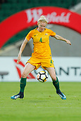 26th March 2018, nib Stadium, Perth, Australia; Womens International football friendly, Australia Women versus Thailand Women; Clare Polkinghorne of the Matildas controls the ball during the first half
