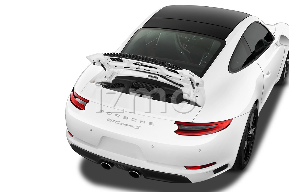 Car stock 2018 Porsche 911 Carrera S 2 Door Coupe engine high angle detail view