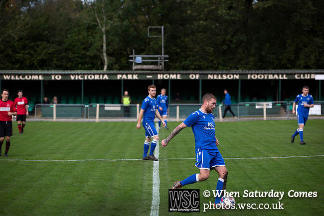 Nelson 3 Daisy Hill 6, 12/10/2019. Victoria Park, North West Counties League, First Division North. First-half action as Nelson (in blue) hosted Daisy Hill at Victoria Park. Founded in 1881, the home club were members of the Football League from 1921-31 and has played at their current ground, known as Little Wembley, since 1971. The visitors won this fixture 6-3, watched by an attendance of 78. Photo by Colin McPherson.