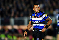 Kahn Fotuali'i of Bath Rugby looks on during a break in play. Aviva Premiership match, between Bath Rugby and Sale Sharks on October 7, 2016 at the Recreation Ground in Bath, England. Photo by: Patrick Khachfe / Onside Images