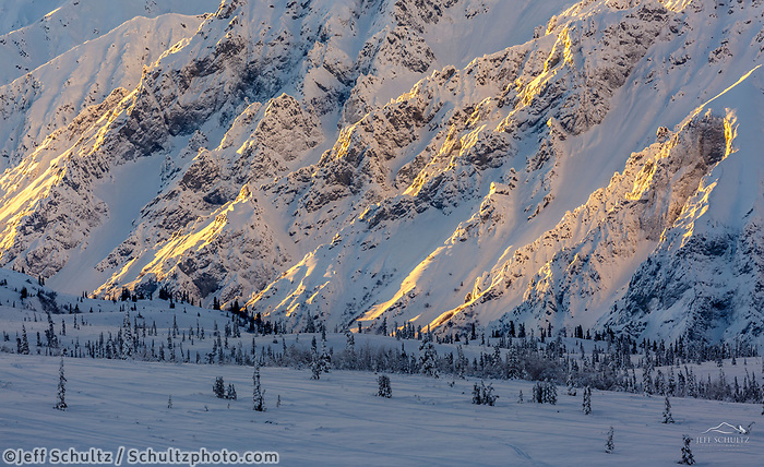 Winter landscape of snow and frost-covered trees with Chugach Mountains at sunrise in the Eureka area of southcentral, Alaska. <br /> <br /> Photo by Jeff Schultz/SchultzPhoto.com  (C) 2018  ALL RIGHTS RESERVED