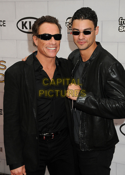 "Jean-Claude Van Damme,  Kristopher Van Varenberg.Spike TV's 6th Annual ""Guys Choice"" Awards held at Sony Pictures Studios, Culver City, California, USA, .2nd June 2012..half length family leather jacket father son dad  black sunglasses shades hand fists gesture .CAP/ADM/BP.©Byron Purvis/AdMedia/Capital Pictures."