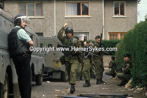 Northern Ireland The Troubles. 1980s. British army soldiers and RUC policeman 1981