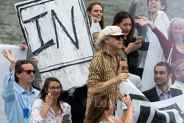 """Bob Geldof KBE (Irish singer-songwriter, author, actor and political activist).<br /> <br /> London, 15/06/2016. Today, the River Thames outside the Houses of Parliament was the stage of an epic """"naval battle"""" between the """"Brexit Flotilla"""", lead by the UKIP leader Nigel Farage MEP, and the """"In Flotilla"""", lead by the Irish singer-songwriter Bob Geldof KBE. Nigel Farage MEP lead a flotilla of fishing trawlers from Southend in Essex sailing to the River Thames in front of the British Parliament to call for the UK's withdrawal from the EU and to repossess """"our water back"""". The protest and the counter protest were set to coincide with Prime Minister David Cameron question time.<br /> <br /> For more information about the """"Leave the EU"""" campaigns (for Brexit) please click here: http://leave.eu/ & http://www.voteleavetakecontrol.org/<br /> <br /> For more information about the """"Remain In the EU"""" campaign please click here: http://www.strongerin.co.uk/"""