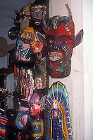 Wooden Mexican ceremonial masks for sale in a shop, Taxco, Guerrero, Mexico