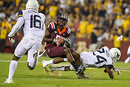 Landover, MD - September 3, 2017: Virginia Tech Hokies wide receiver Cam Phillips (5) avoids a tackle during game between Virginia Tech and WVA at  FedEx Field in Landover, MD.  (Photo by Elliott Brown/Media Images International)