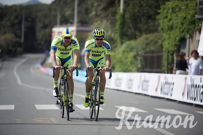 Team Tinkoff-Saxo owner Oleg Tinkov pre-rides the course 2 hrs before the riders<br /> <br /> 2015 Giro<br /> stage 3: Rapallo - Sestri Levante (136km)