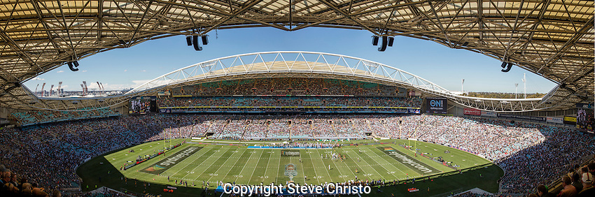 Panorama of ANZ Stadium in the round 1 of the NCAA College Football Sydney Cup game between Hawai'i Rainbow Warriors and California Golden Bears at Sydney Olympic Park, on Saturday, 27th of August  2016, Sydney, Australia (Photo: Steve Christo)