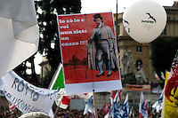 Roma 13 Marzo 2010.Manifestazione del Centrosinistra a Piazza del Popolo  per protestare  contro il decreto salva-liste per le elezioni regionali  approvato dal Governo Berlusconi.Silvio Berlusconi -Marchese del Grillo.Roma March 13, 2010.The parties of the center left against the decree-saving lists for regional elections approved by the Berlusconi government