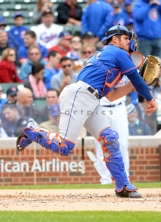 New York Mets Anthony Recker (20) during a game against the Chicago Cubs on May 14, 2015 at Wrigley Field in Chicago, IL. The Cubs beat the Mets 6-5.
