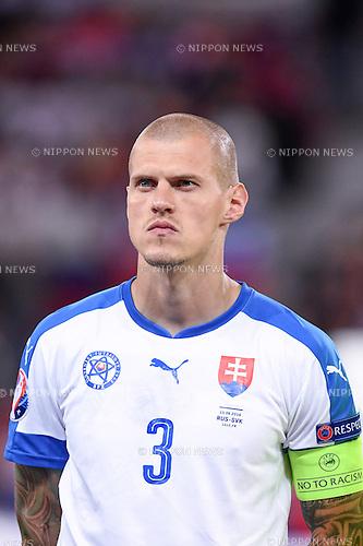 Martin Skrtel (Slovakia) ; <br /> June 15, 2016 - Football : Uefa Euro France 2016, Group B, Russia 1-2 Slovakia at Stade Pierre Mauroy, Lille Metropole, France. (Photo by aicfoto/AFLO)