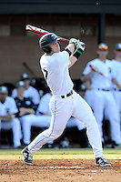 Left fielder Stephen Dowling (7) of the University of South Carolina Upstate Spartans bats in a game against the Winthrop University Eagles on Wednesday, March 4, 2015, at Cleveland S. Harley Park in Spartanburg, South Carolina. Upstate won, 12-3. (Tom Priddy/Four Seam Images)
